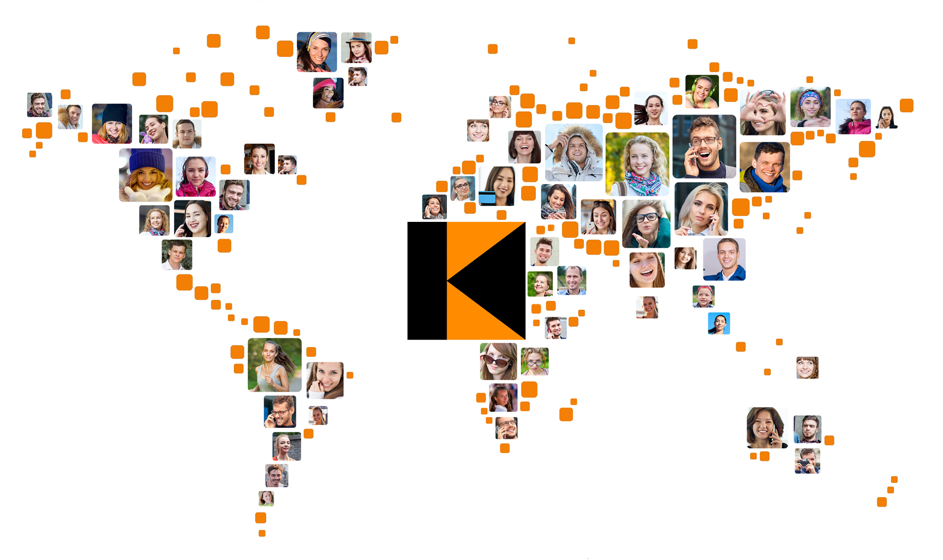 Collection of people portraits placed as world map shape. Global Business Concept.